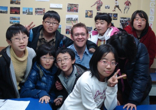 Jonathan with his students in Korea